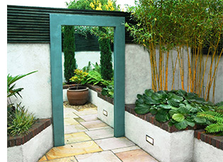 The Dublin garden designers also used mirror to increase space in the small shady courtyard.